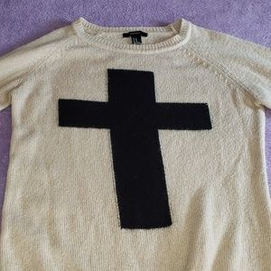 Forever 21 sweater with black cross